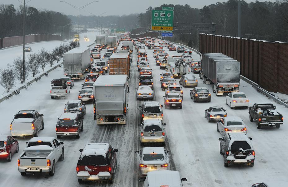 Northbound traffic on Interstate 85 was at a standstill at rush-hour Wednesday in Durham, N.C.